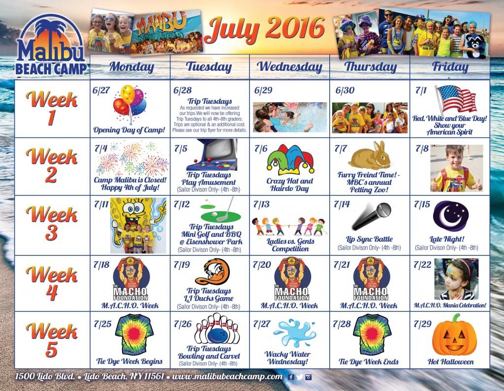 Event Calendar July 2016